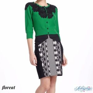 FLOREAT (ANTHRO) Blk/Wht Geometric Pencil Skirt